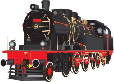 Poster Um veterano Heavy Steam Freight Railway Locomotive isolado no branco