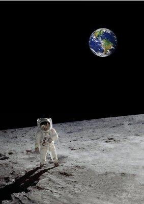 Poster Uma caminhada lunar sob a terra brilhante (alguns elementos cortesia da nasa)