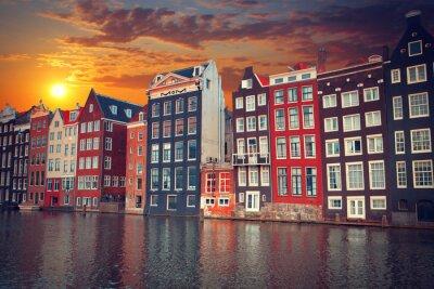 Poster Uma das cidades europeias mais famosas de Amsterdã. A capital de