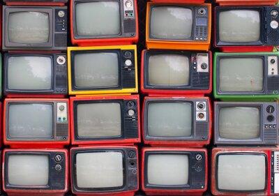 Poster Uma parede de televisores antigos de tubo do vintage