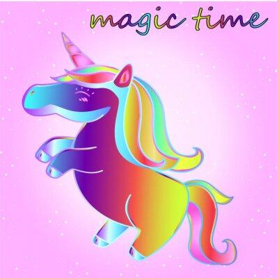 Poster Unicórnio de neon de desenho com estrelas em um fundo de gradiente rosa - um tempo de aventura e um tempo de magia