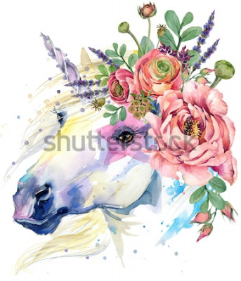 Poster unicórnio. ilustração de buquê de flores em aquarela. fundo de fantasia. cavalo branco.