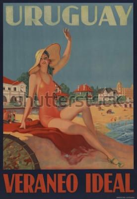 Poster Uruguai, Veraneo Ideal. O poster de viagens dos anos 30 mostra uma beleza de banho na praia.