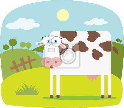 vaca dos desenhos animados com olho grande cartazes para a parede