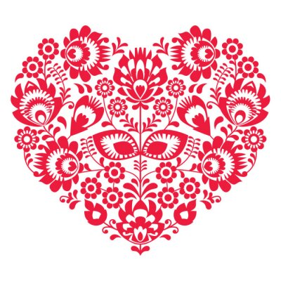 Poster Valentines Day folk art red heart - Polish pattern