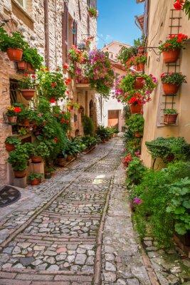 Poster Varanda em pequena cidade na Itália, em dia ensolarado, Umbria