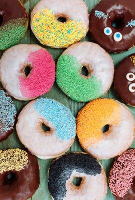 Poster Vários donuts assados, comida doce