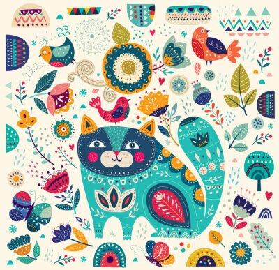 Poster Vector a ilustração colorida com gato bonito, borboletas, pássaros e flores