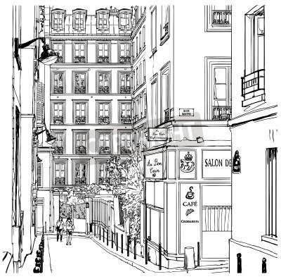 Poster Vector a ilustração de uma rua perto de Montmartre em Paris