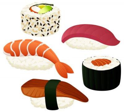 Poster Vector a ilustração de uma variedade de sushi.