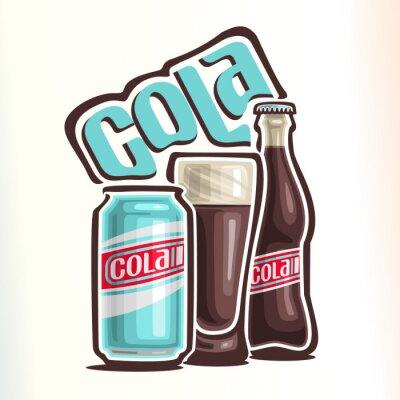 Poster Vector a ilustração sobre o tema do logotipo de cola, consistindo de lata com cola, copo de vidro cheio de cola e garrafa de vidro fechado de cola