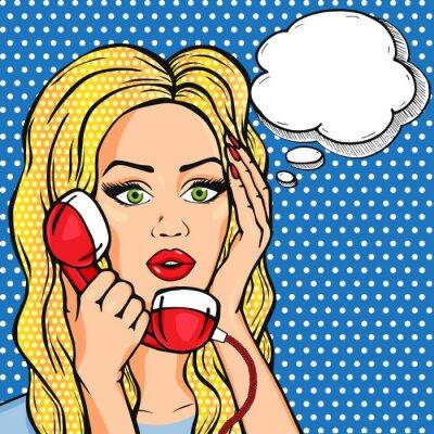 Poster Vector, chocado, mulher, telefone, pensamento, bolha, vetorial ...