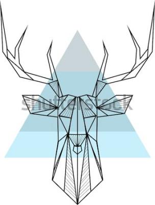 Poster Vector hipster abstrato geométrico com veado