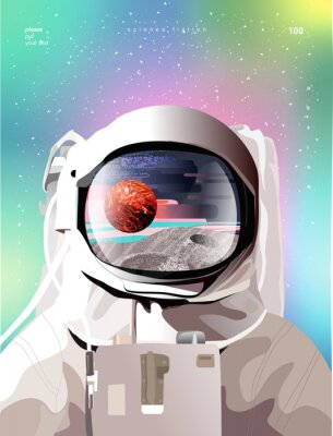 Poster Vector illustration of a portrait of an astronaut in a spacesuit in space with planets, gradient abstract background for a poster, banner or cover