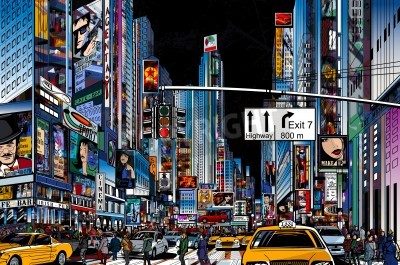 Poster Vector Illustration of a street in New York city at night