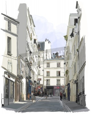 Poster Vector illustration of a street near Montmartre in Paris