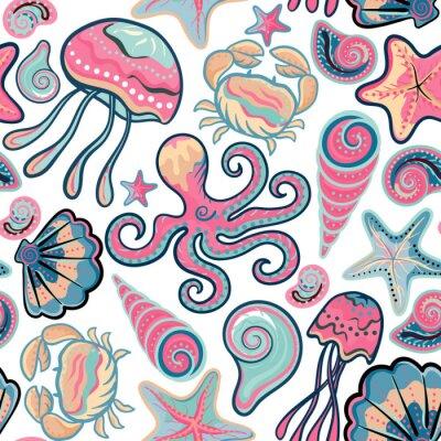 Poster Vector mão desenhada sem costura padrão com medusa, conchas, estrela do mar, polvo e caranguejos. Fundo do oceano