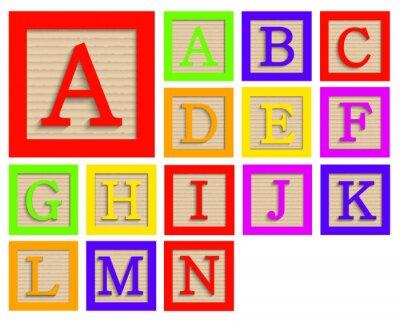 Poster Vector modernos blocos de madeira do alfabeto definido