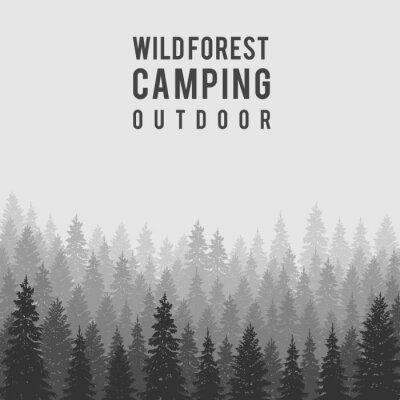 Poster Vector o fundo conífero selvagem da floresta. Modelo de design de acampamento ao ar livre