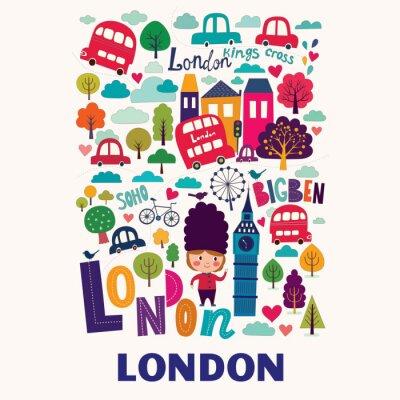 Poster Vector padrão colorido com símbolos de Londres