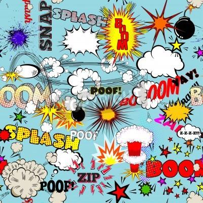 Poster Vector Padrão Retro Seamless Com Comic Speech Bubbles, rótulos, logotipos e palavras de quadrinhos