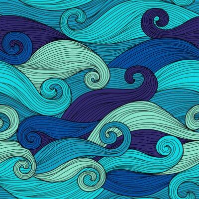 Poster Vector padrão sem emenda com ondas abstratas