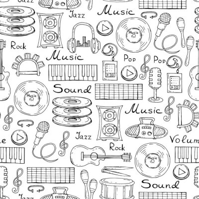 Poster Vector pattern with hand drawn symbols of music on white color