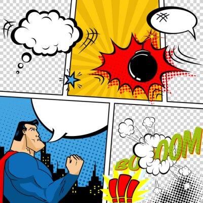 Poster Vector Retro Comic Ilustração Bubbles Livro de discurso.