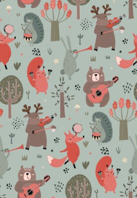 Poster Vector seamless pattern with hand drawn wild forest animals with musical instruments.