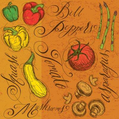 Poster Vegetais crus com caligrafia