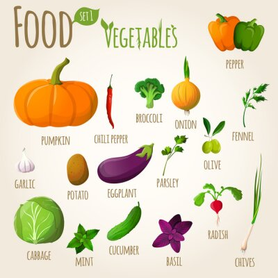 Poster Vegetais de alimentos definidos