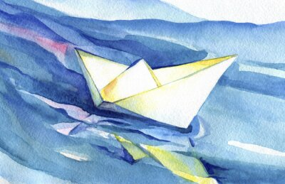 Poster Velas do navio do papel branco nas ondas. Pintura da aguarela do navio e da água de mar.