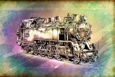 Poster velha locomotiva a vapor motor retro vintage