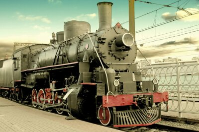 Poster Velha locomotiva a vapor na estação