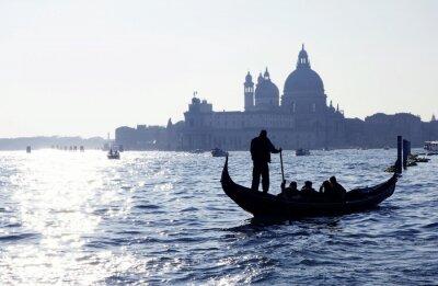 Poster Venedig, Canal Grande mit und Kirche Gondel Santa Maria della Salute