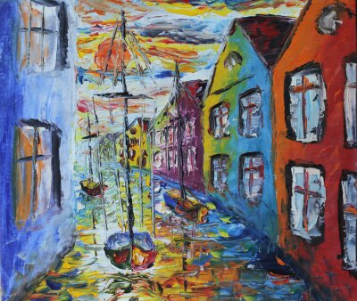Poster Veneza barco flutuando nas ruas, pintura a óleo
