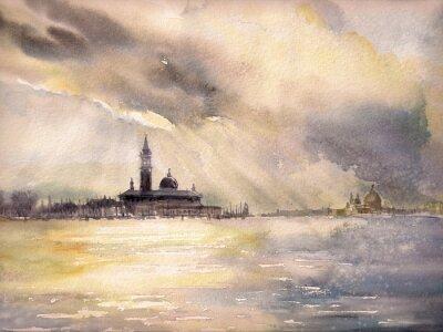 Poster Veneza, Italia no por do sol. Retrato criado com aguarelas.