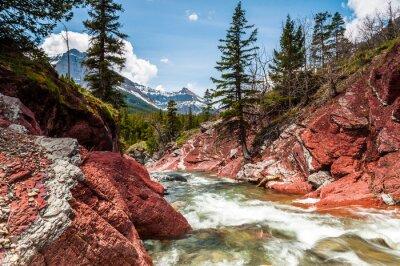 Poster Vermelho, rocha, riacho, movimento, canyon