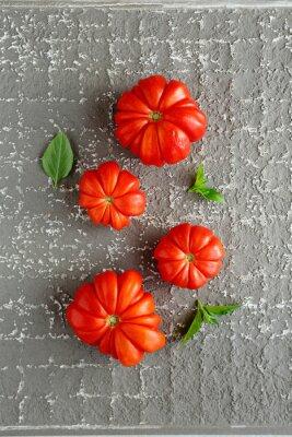 Poster Vermelho, tomates, cinzento, fundo