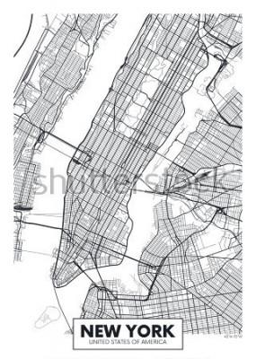 Poster Vetor cartaz mapa cidade de Nova York