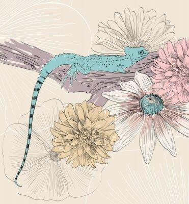 Poster Vetorial, esboço, lagarto, cute, flores