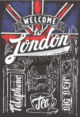 Poster Vetorial, giz, grande, Grã-Bretanha, bandeira, londres