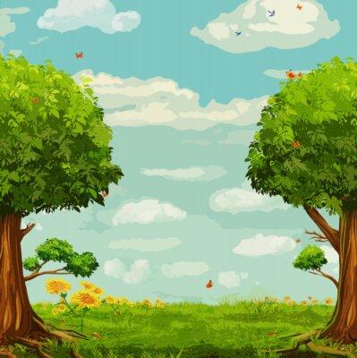 Poster Vetorial, Ilustração, bonito, floresta, cena, árvores, céu