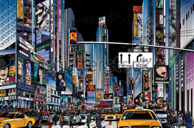 Poster Vetorial, ilustração, de, um, rua, em, cidade nova iorque, à noite