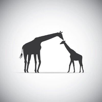 Poster Vetorial, silueta, mãe, girafa, dela, bebê