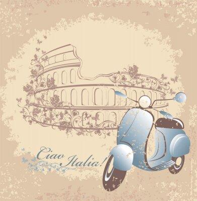 Poster Viagem Cartão retro para a Itália. Scooter Vintage e Coliseu de Roma