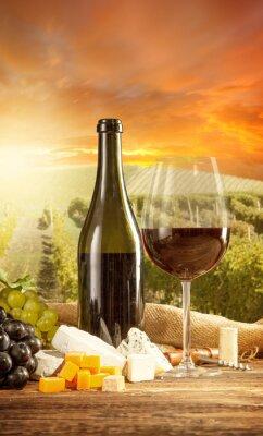 Poster Vinho tinto vida ainda com vinha no backgorund