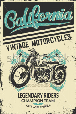 Poster Vintage motorcycle placard with motorbike. Vector illustration.