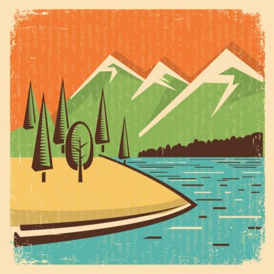 Poster Vintage Nature mountains landscape