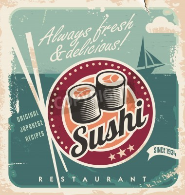 Poster Vintage poster for Japanese restaurant. Retro vector background with sushi rolls.